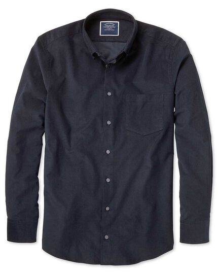 Slim fit plain navy fine corduroy shirt