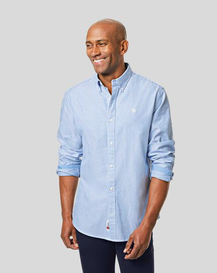 England Rugby Button-Down Collar Washed Oxford Stripe Shirt - Blue