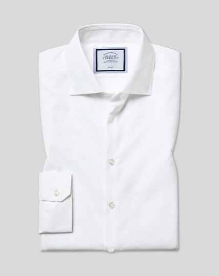 Wit strijkvrij overhemd met natuurlijke stretch en textuur, superslanke pasvorm