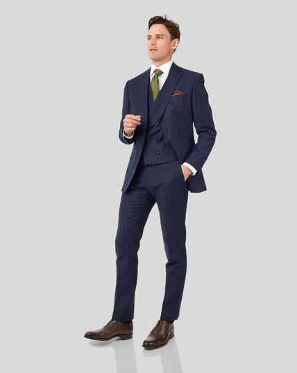 British Luxury Stripe Suit - Dark Blue