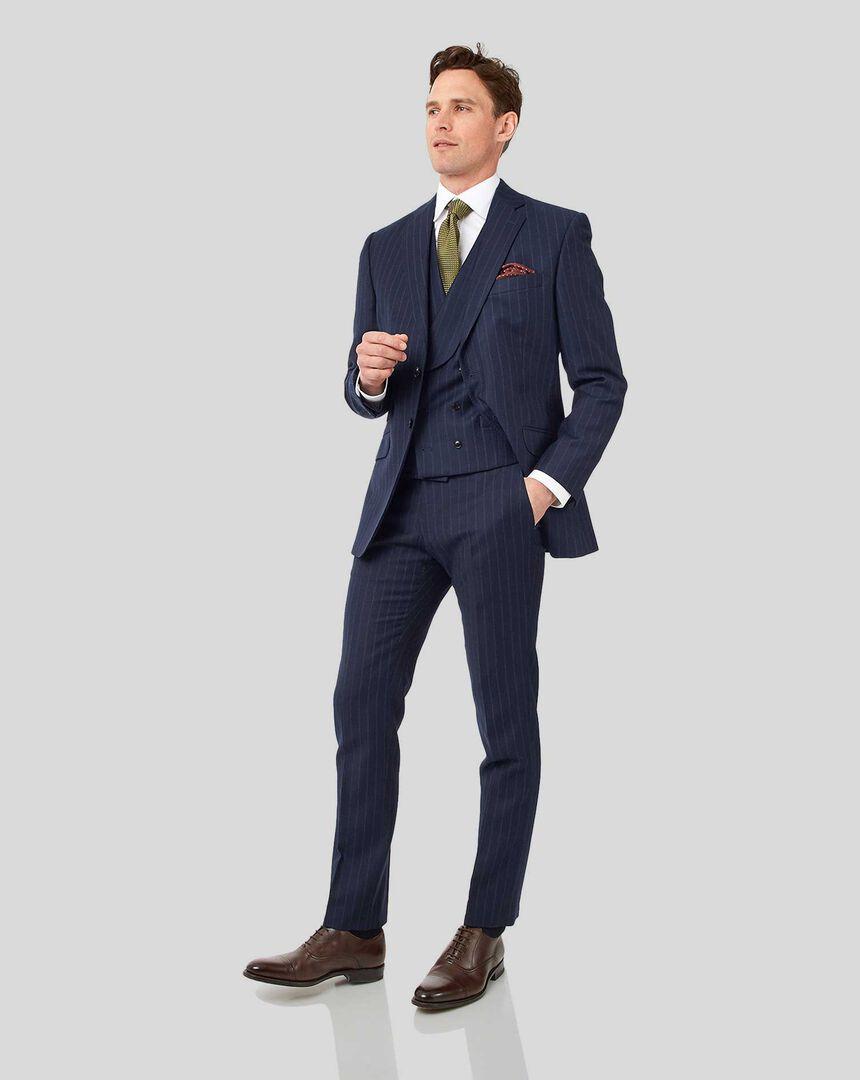 British Luxury Stripe Suit - Dark Blue