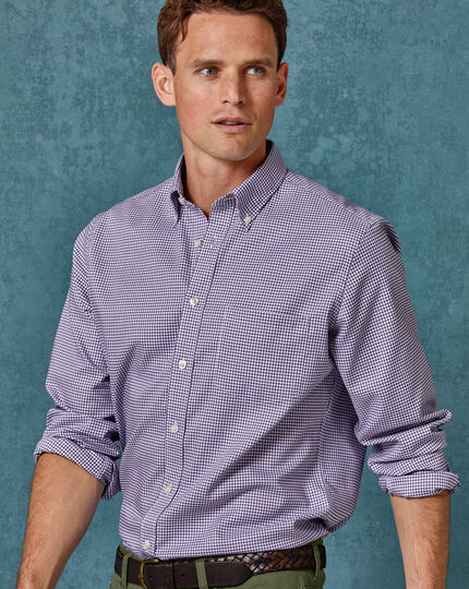 Slim fit purple gingham soft washed non-iron stretch shirt