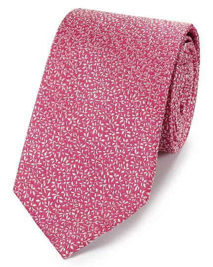 Klassische Krawatte aus Seide mit feinem Blattmuster in Rosa