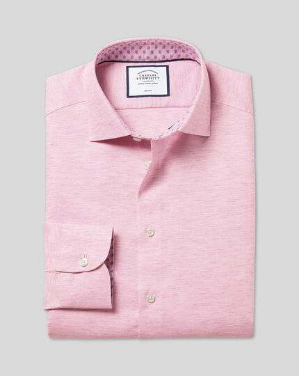 Business Casual Collar Cotton Linen Shirt - Pink