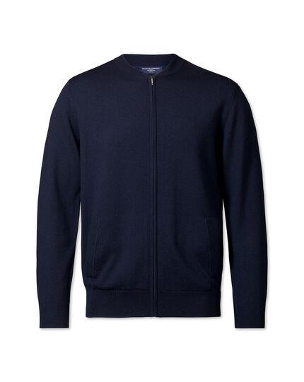 Blouson zippé en laine mérinos - Bleu marine