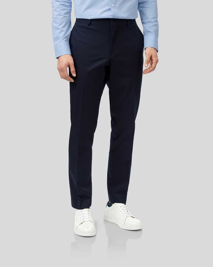 Italian Cotton Suit Trousers - Navy