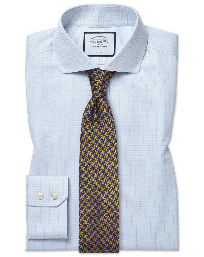 Cutaway Collar Non-Iron Soft Twill Check Shirt - Blue