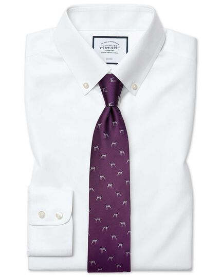 Slim fit button-down non-iron twill white shirt