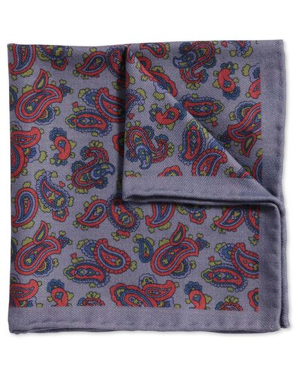 Blue and berry classic printed wool paisley pocket square