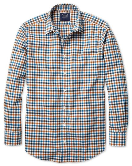 Slim fit dark yellow gingham block check flannel shirt