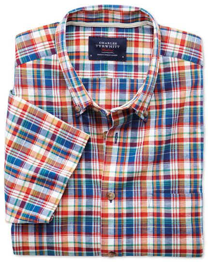 Slim fit short sleeve orange and blue check shirt
