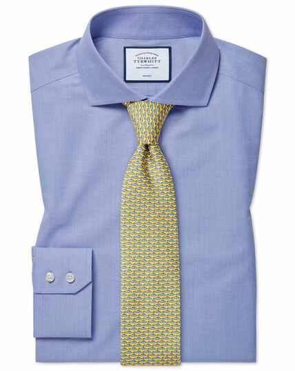 Slim fit non-iron 4-way stretch blue spread collar shirt