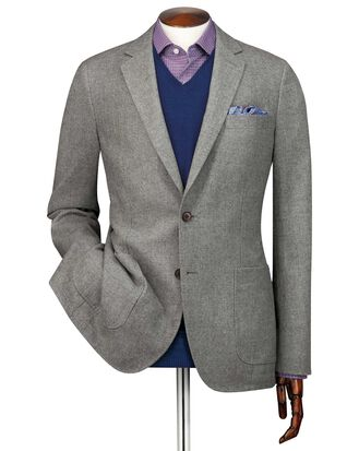 Slim fit light grey wool flannel jacket