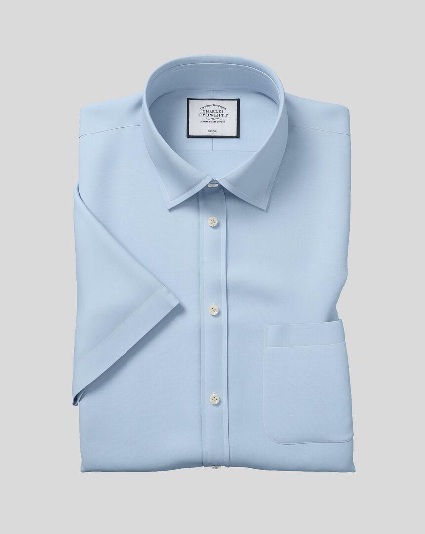 Bügelfreies kurzärmeliges Tyrwhitt Cool Popeline-Hemd mit Kent Kragen - Himmelblau