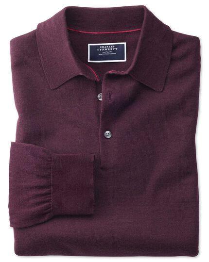 Wine polo collar merino sweater
