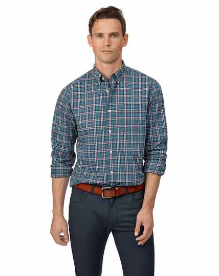 Slim fit soft washed stretch poplin teal and burgundy check shirt