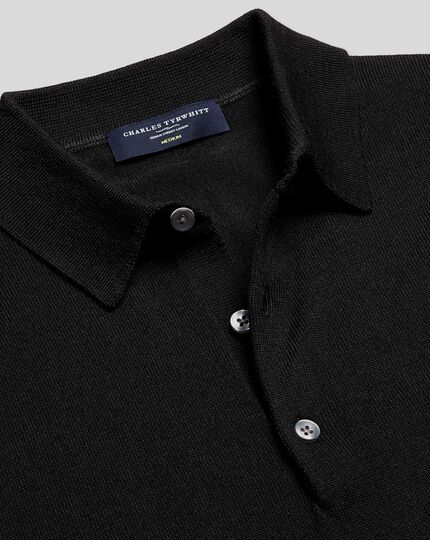 Merino Polo Jumper - Black