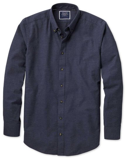 Extra slim fit blue herringbone melange shirt