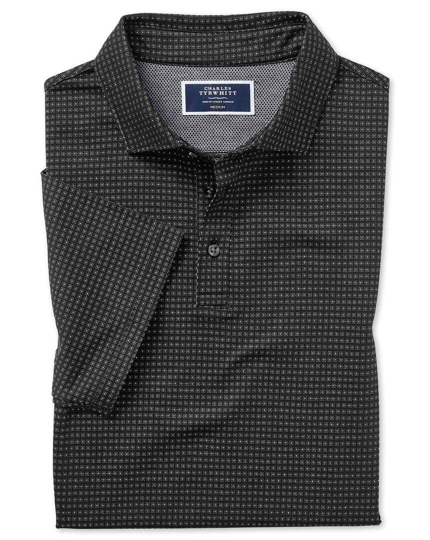 Black square jacquard short sleeve polo