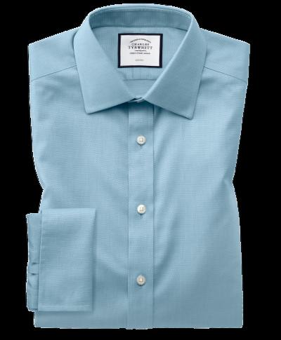 Chemise bleu canard extra slim fit tissage effet triangles sans repassage