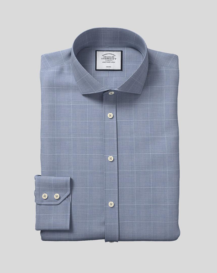 Bügelfreies Hemd aus Baumwolle mit TENCEL™ x REFIBRA Technologie, Haifischkragen und Karos - Marineblau