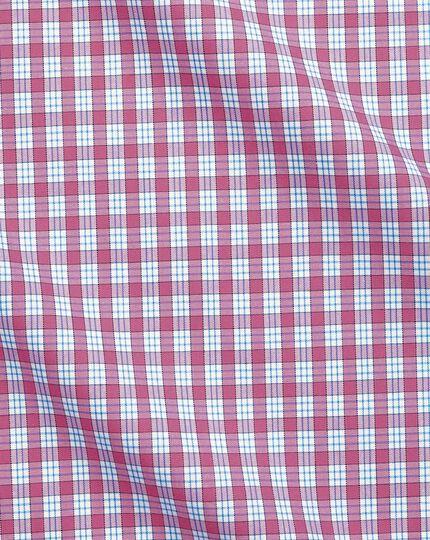 Slim fit semi-spread collar non-iron business casual pink check shirt