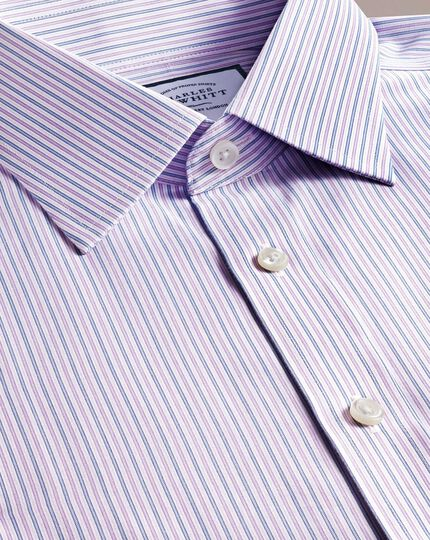 Non-Iron Stripe Shirt - Lilac And Blue Multi