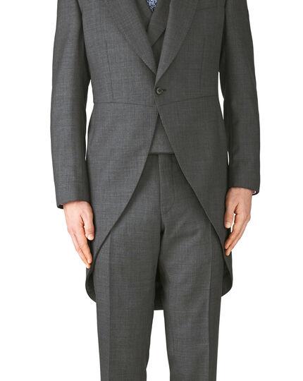 Dark grey classic fit morning suit tail coat