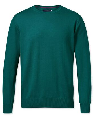 Teal merino wool crew neck sweater