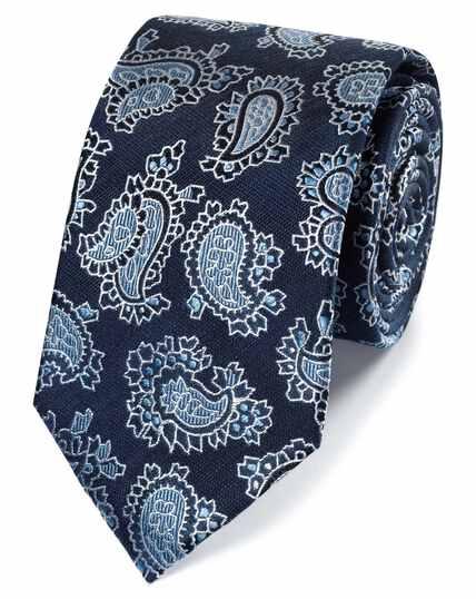 Navy linen silk paisley classic tie