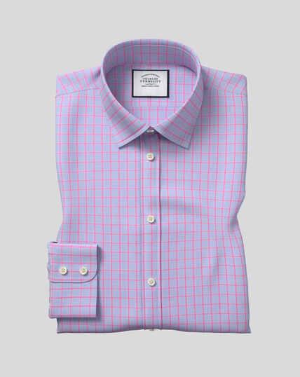 Classic Collar Poplin Check Shirt - Blue & Pink