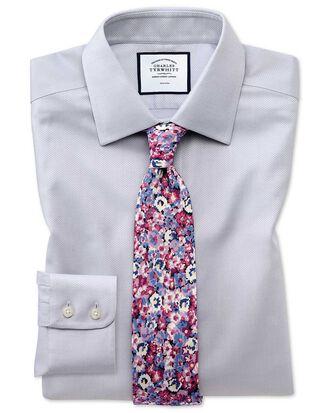 Bügelfreies Slim Fit Hemd aus Triangle Gewebe in Grau