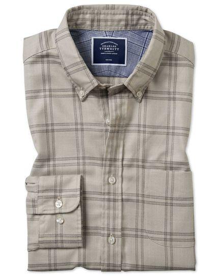 Vorgewaschenes bügelfreies Classic Fit Twill-Hemd mit Karomuster in Hellgrau