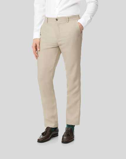 Easy Care Linen Trousers - Stone