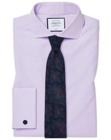 Slim fit non-iron spread collar poplin lilac shirt