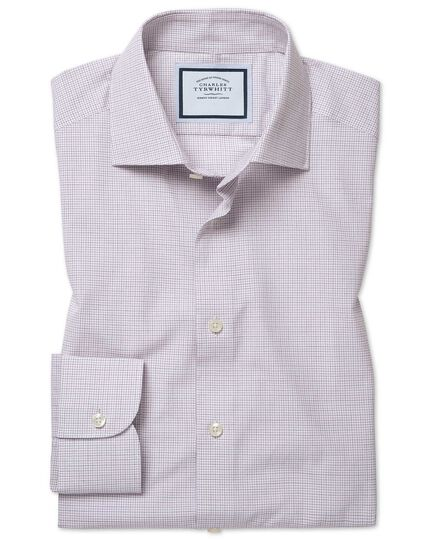 Extra slim fit peached Egyptian cotton purple check shirt