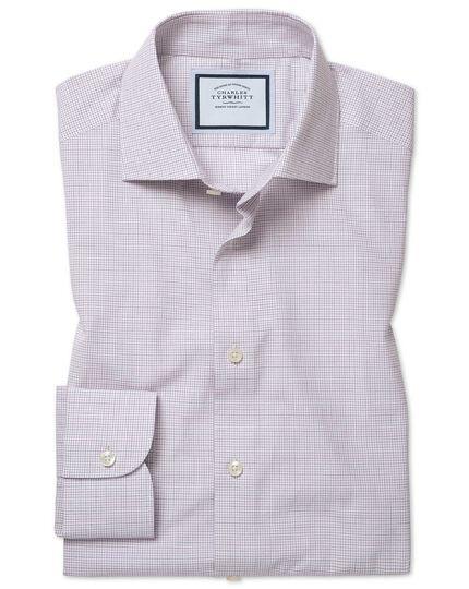 Extra Slim Fit gepeachtes Hemd aus ägyptischer Baumwolle mit Karos in Violett