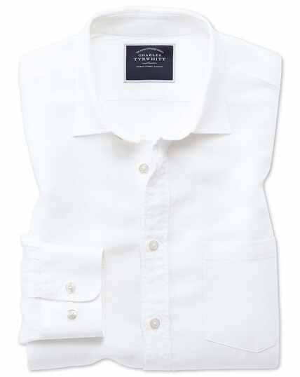 Slim fit white Tencel™ with linen shirt