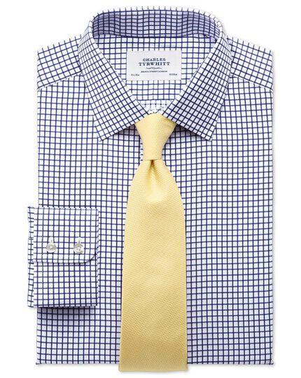 Slim fit twill grid check navy shirt