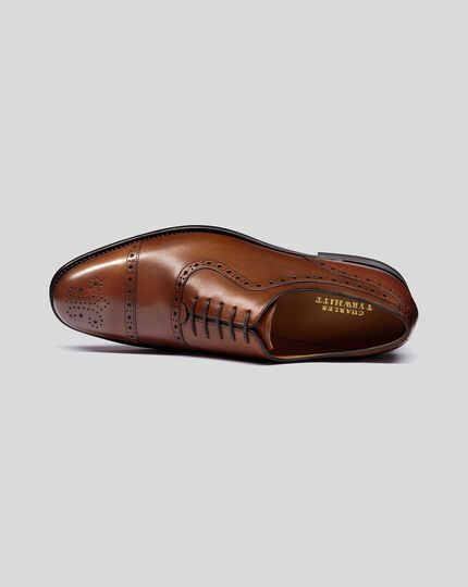 Goodyear Welted Oxford Brogue Shoes - Brown