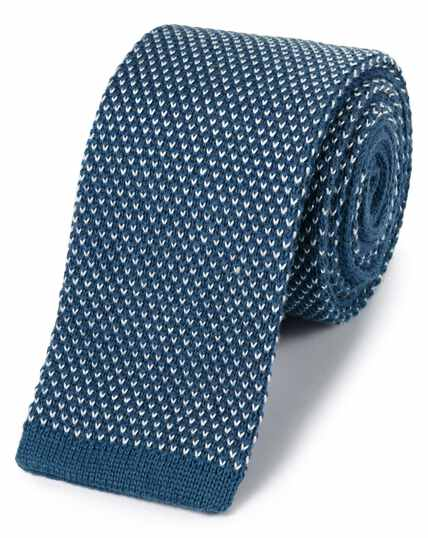 Mid blue cotton slim knitted classic tie