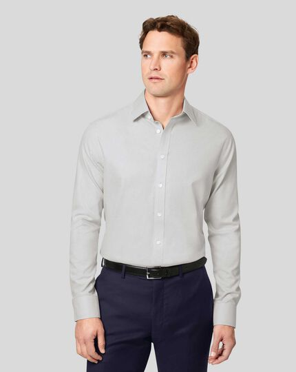 Non-Iron Mini Herringbone Shirt - Grey