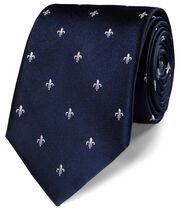 Navy silk fleur-de-lys stain resistant classic tie