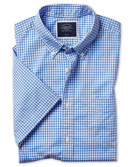 Slim fit sky blue short sleeve gingham soft washed non-iron stretch poplin shirt