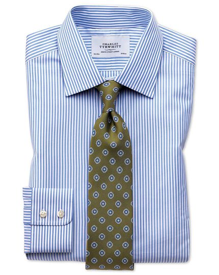 Slim fit Bengal stripe sky blue shirt