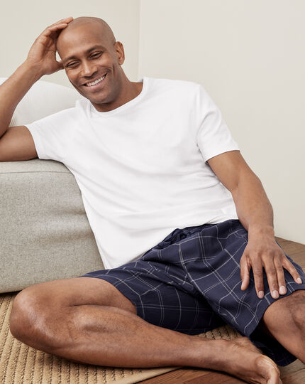 Check Pyjama Shorts - Navy & White