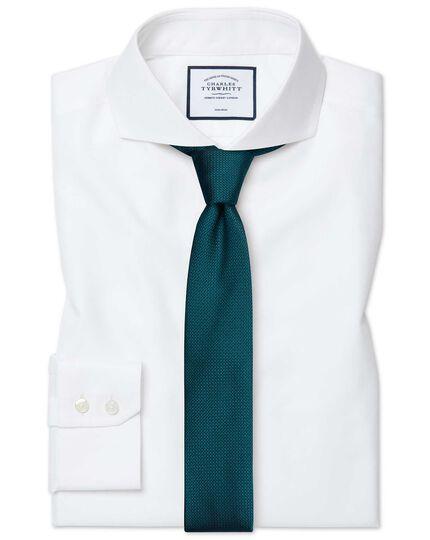 Slim fit extreme spread collar non-iron twill white shirt