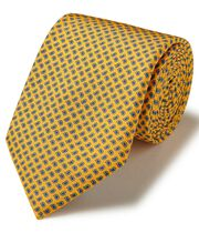 Yellow silk mini paisley printed classic tie