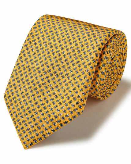 Yellow silk mini paisley printed classic tie