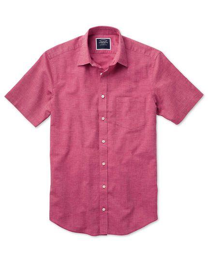 Chemise rose vif unie en coton et lin slim fit à manches courtes